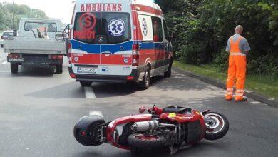 Wypadek motocyklisty w Skórzewie, lądował śmigłowiec ratunkowy