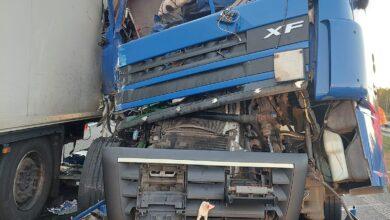 Karambol na A2, zderzyły się 4 ciężarówki .